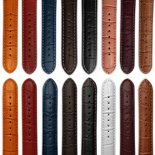 Ladies Genuine Leather 'Mock Croc' Watch Strap Range : Various Colours
