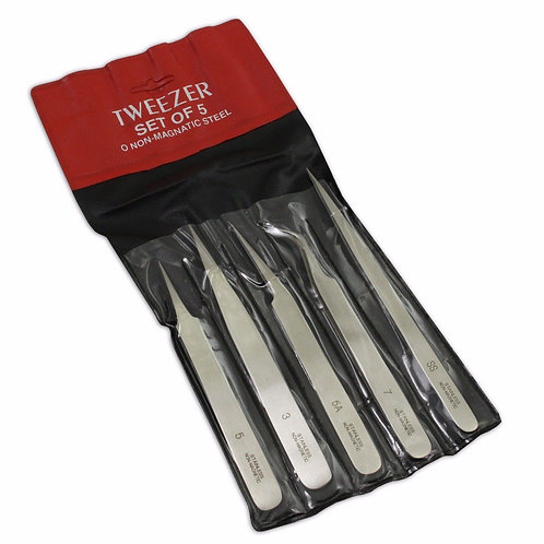Set 5 Tweezers - Non-Magnetic (SS, 3, 5, 5A, 7)