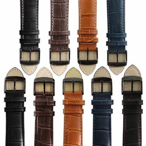 Genuine leather mock croc watch strap band men's crocodile padded black buckle