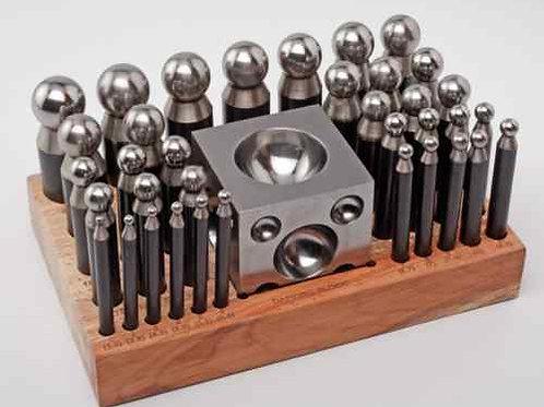 37pc Steel Doming Block & Punch Set