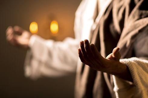 Scene, of Jesus Christ praying during th