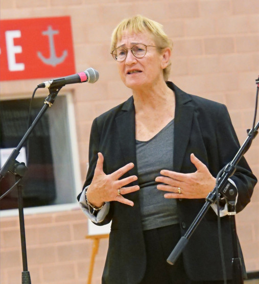 Guest speaker Assaela Weinstein, wife of luthier Amnon Weinstein, who is the Founder of the Violins of Hope Collection, and daughter to one of three brothers who formed the Bielski brigade in Belarus, introduces the collection at the 2020 International Holocaust Remembrance Day event. In 1941, the Bielski brothers escaped from the Nazis and took refuge in the forest where they organized and led a unit of Jewish partisans to fight German occupiers and rescue Jews from the horrors of the Shoah.