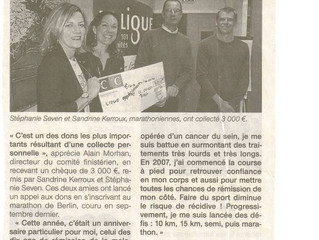 3000 €uros pour la ligue contre le cancer, c'est génial...Merci à tous pour votre soutien