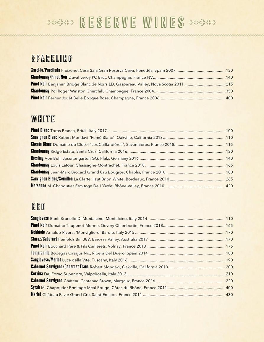 Reserve Wine - Jan 2021