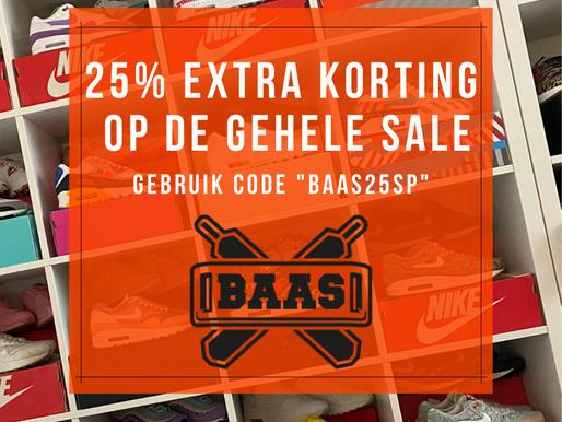 25% extra korting op de SALE van Sneakerbaas