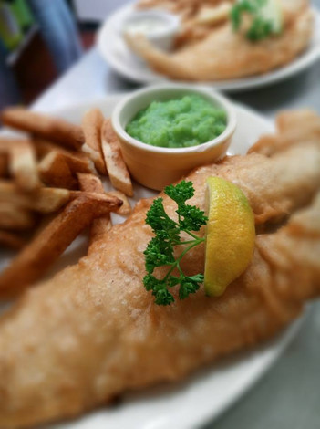 Fresh fish and chips.