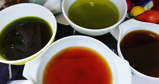 Strained herbal oils for pain salve.