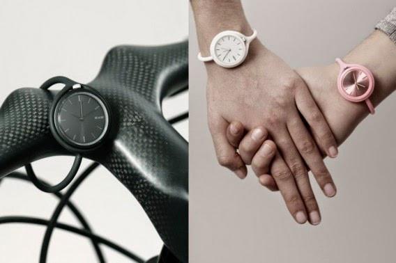 La montre Take Time de Mathieu Lehanneur pour Lexon peut aussi s'accrocher sur le guidon de votre vélo