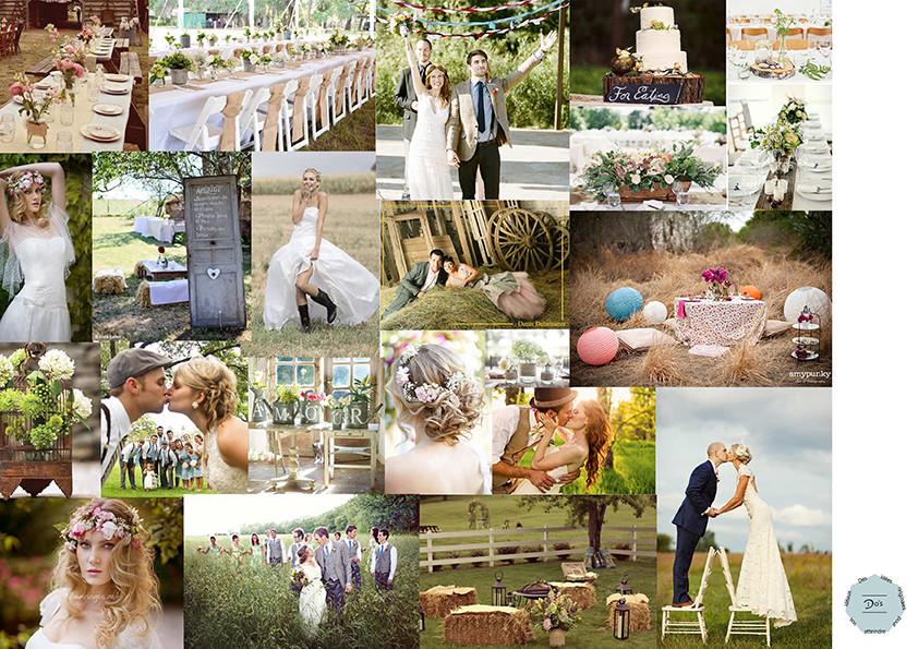 planche d'inspiration ou moodboard pour un mariage champêtre