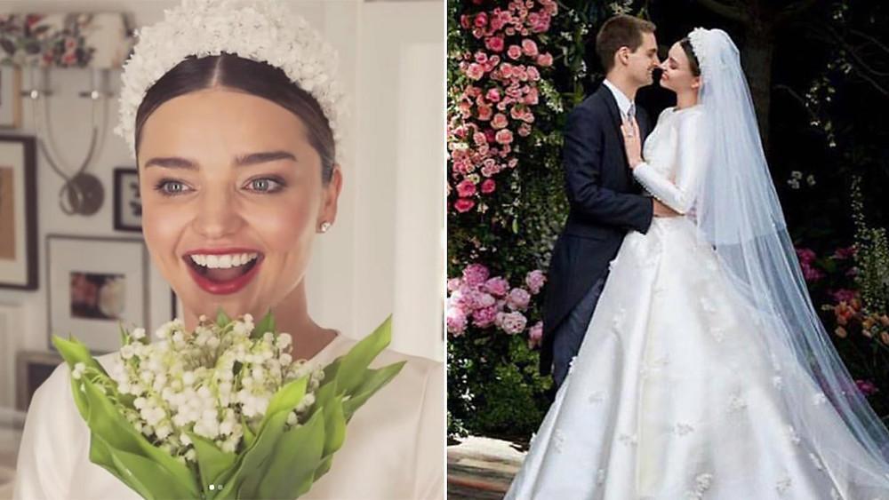 Le bouquet de mariée tout en muguet de Miranda Kerr