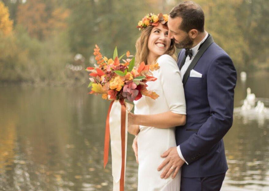 De jolies fleurs aux couleurs d'automne pour le bouquet de la mariée