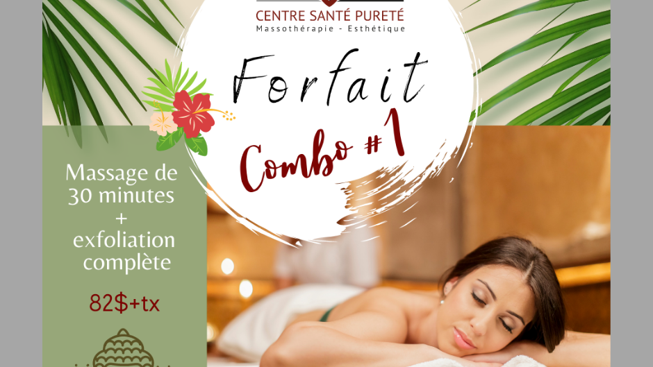 Massage de 30 minutes et Exfoliation Complète