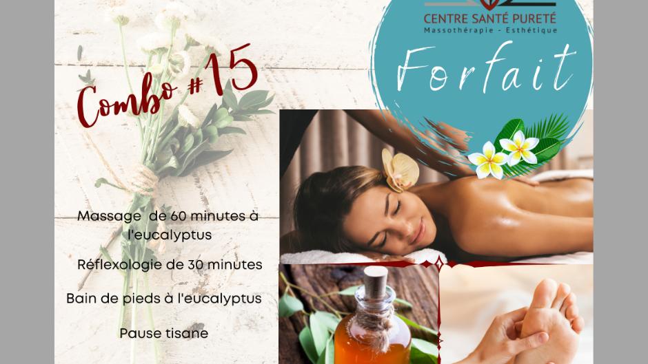 Massage de 60 min et Bain de pieds à l'Eucalyptus, Réflexologie et Pause Tisane