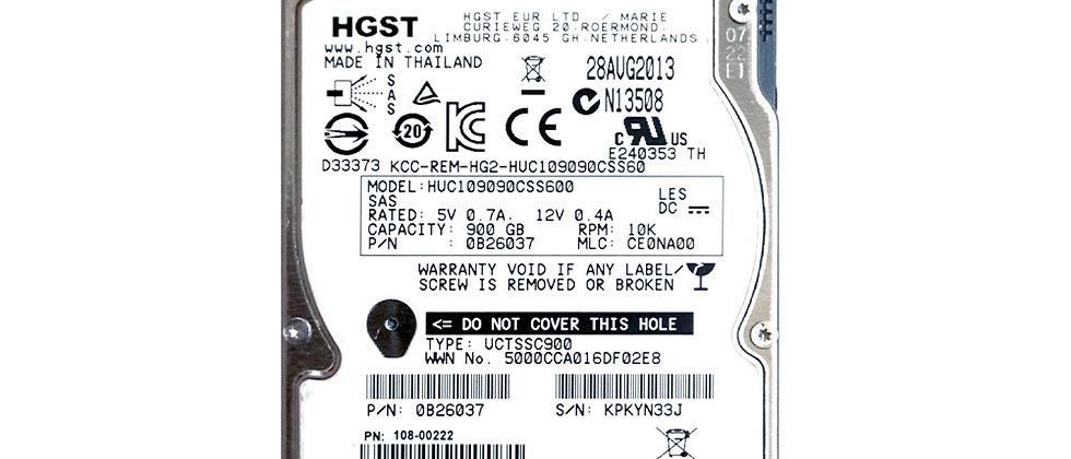 "HGST HUC109090CSS600/900GB 10K RPM SAS 6Gb/s 2.5""/R5D-J900SS/HDD"