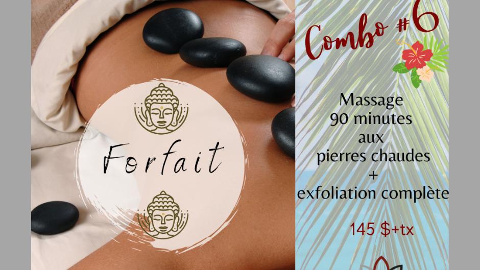 Massage de 90 minutes aux Pierres Chaudes et Exfoliation complète