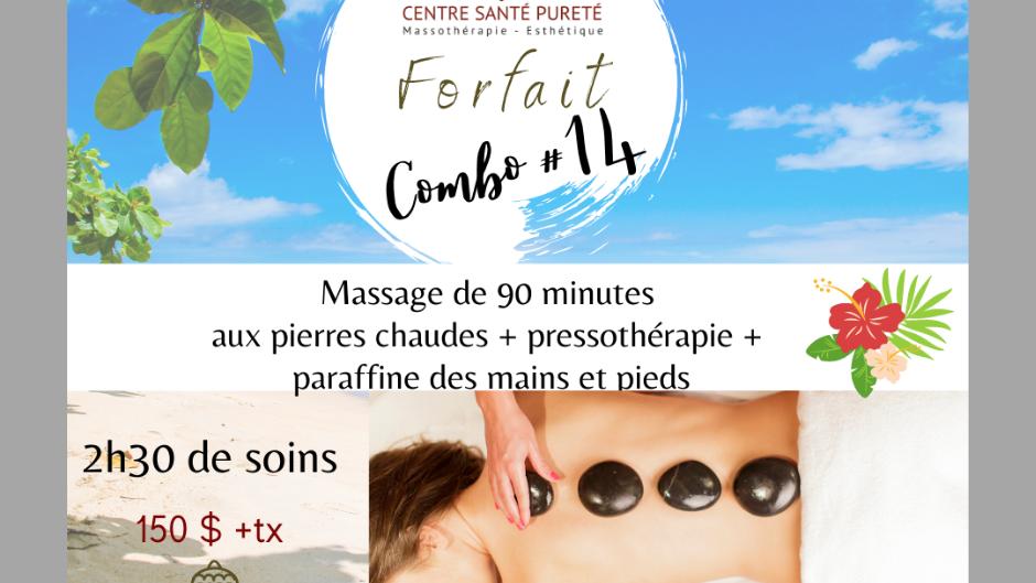 Massage de 90 minutes aux Pierres Chaudes, Pressothérapie et Paraffine