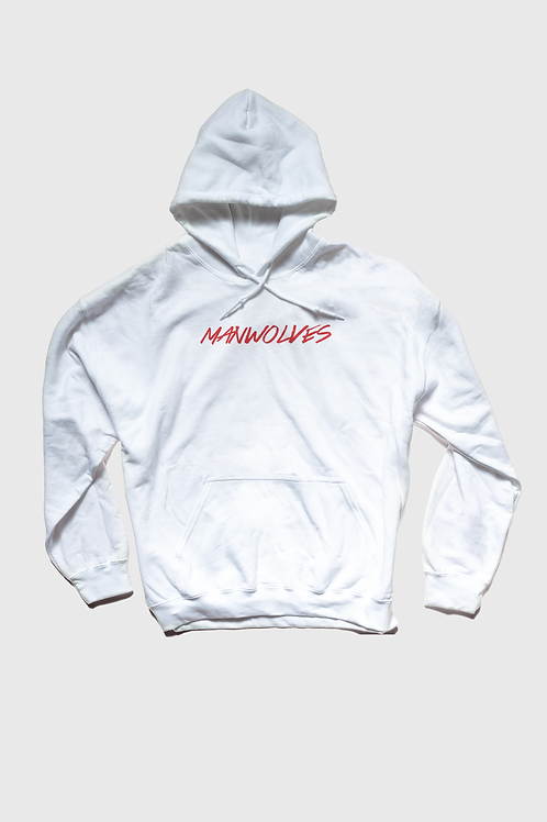 White Hoodie Red Text