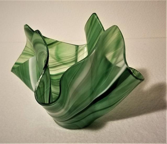 Free Form Vase - Green & White Swirl