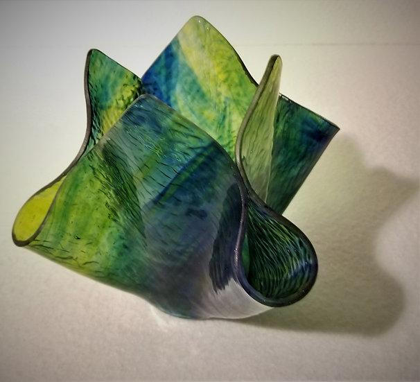 Free Form Vase Lime Green & Blue Swirl