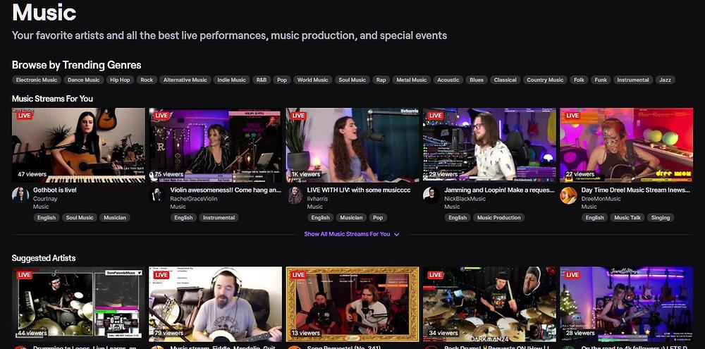 Twitch Music Live Streaming Platform