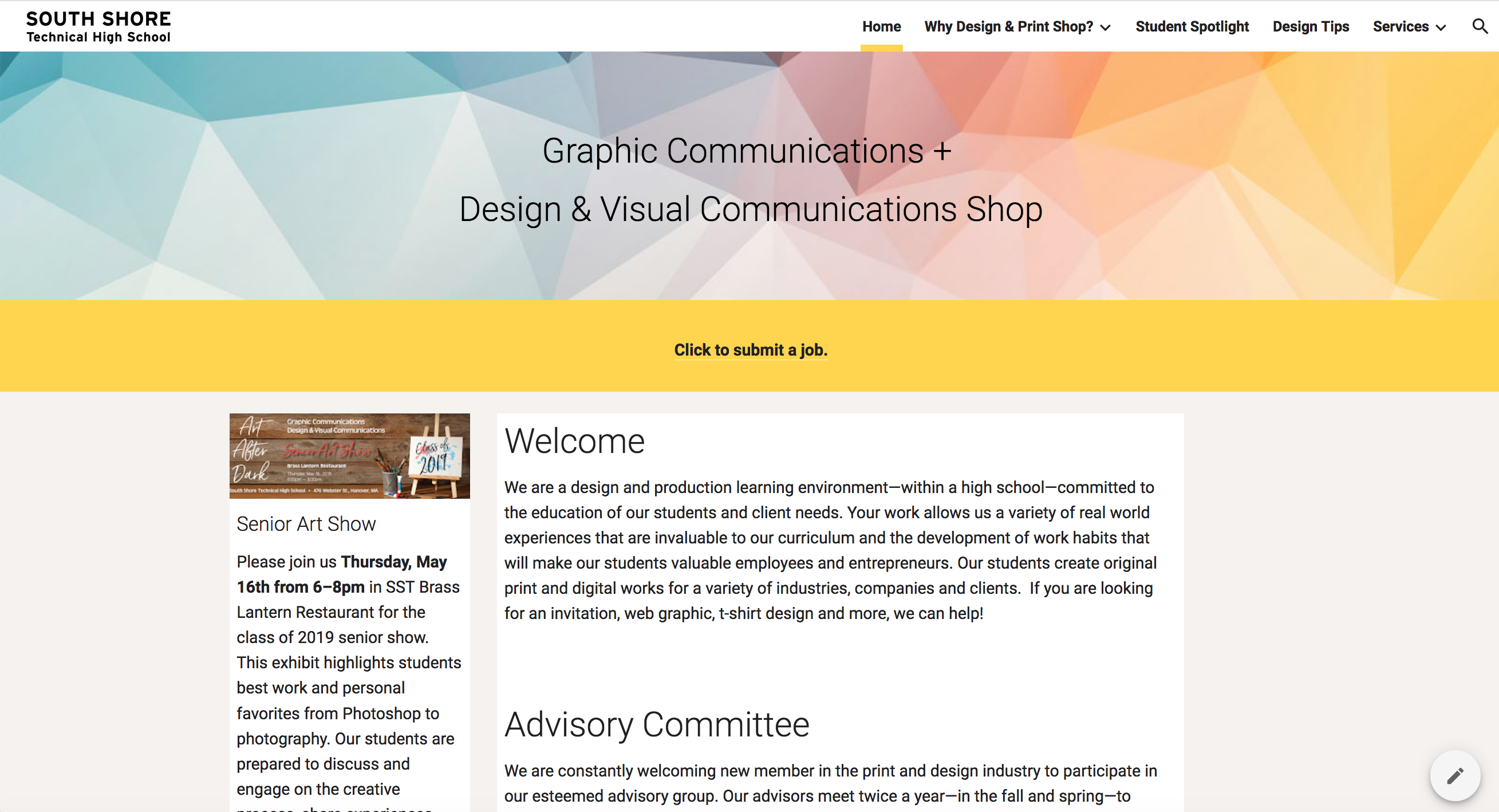 Website for Design Program at SST