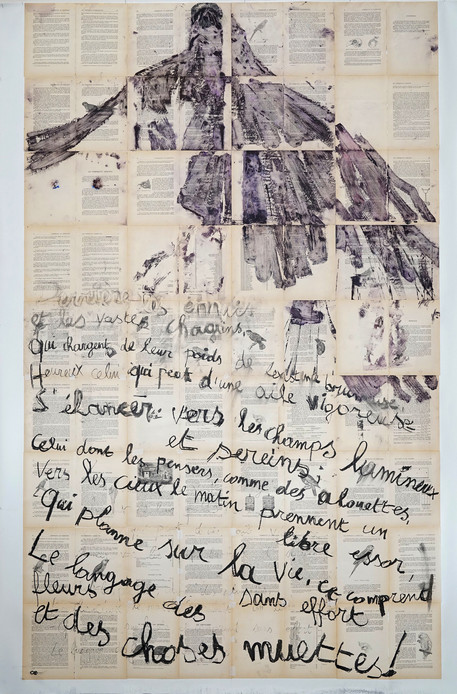 Planer sur la vie, 2016 acrylic on paper mounted on canvas 247 x 168 cm