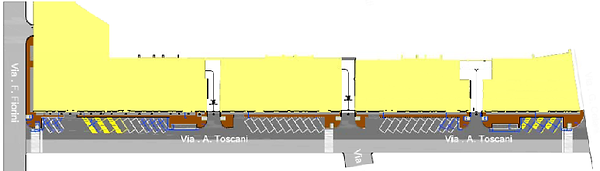 61/5000 Arrangement of the existing road of Via Toscani in Rome