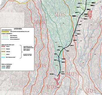 Master Plan of river basins interfered by a road infrastructure.