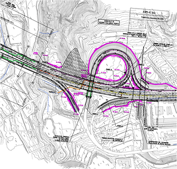 Highway platform drainage system hydraulic plan