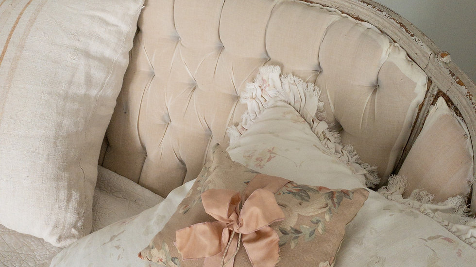 Vintage French Pillow filled with Rosebuds