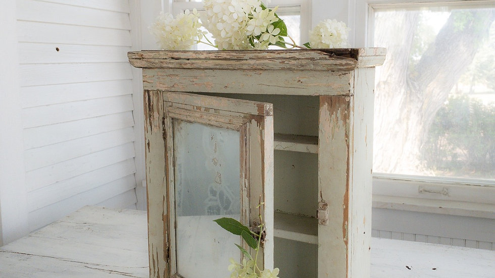 Antique French Mercury Glass Cabinet