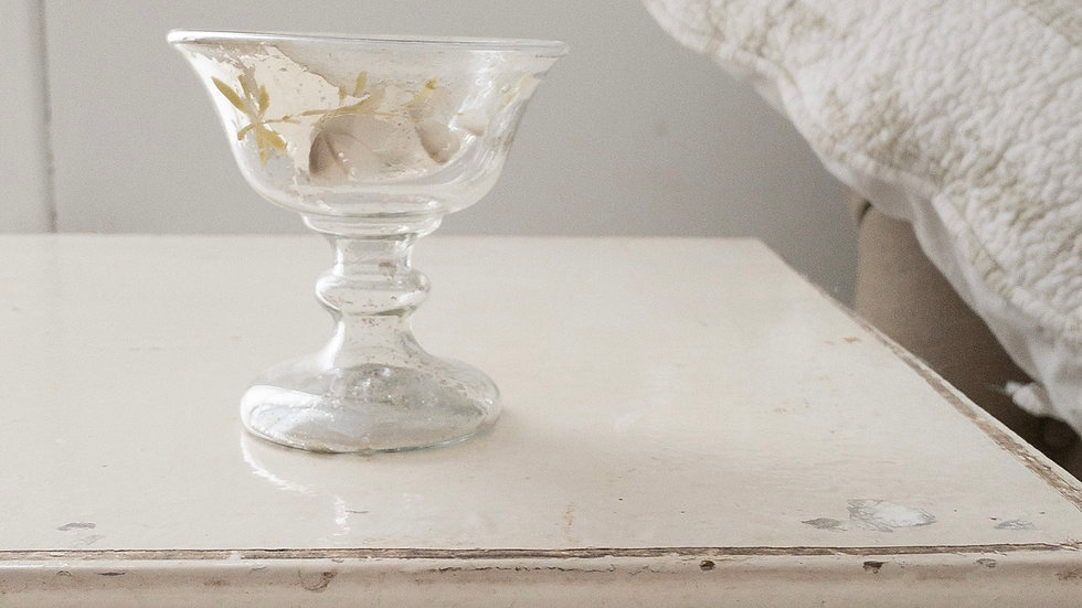 Footed Antique Mercury Glass Piece with White Flowers