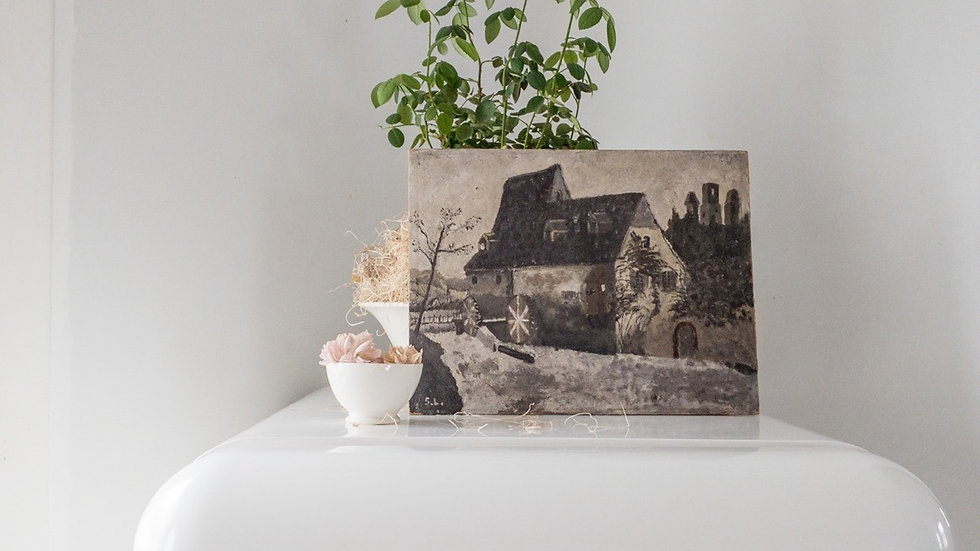Vintage French Painting on Wood Panel