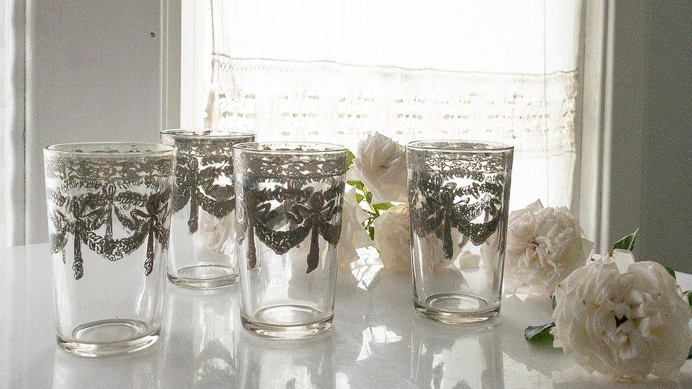 Vintage Silver Swag & Roses Glasses