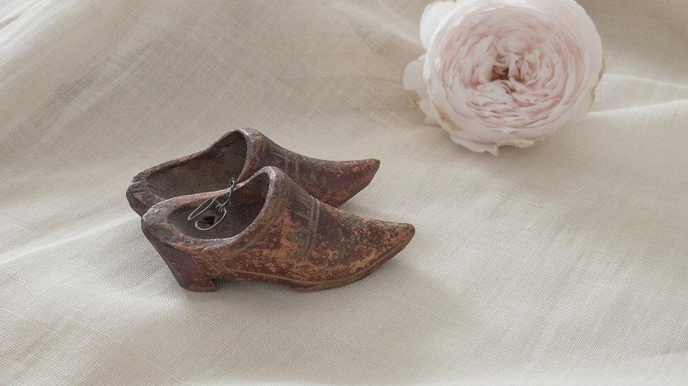 Vintage miniature wooden shoes