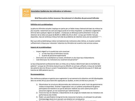 Note politique 2 : Recrutement et rétention du personnel infirmier