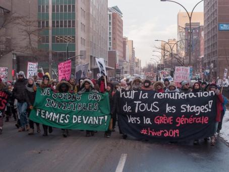 Au sujet de la grève étudiante pour la rémunération des stages: