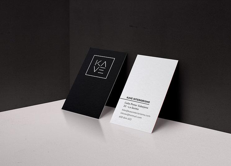 Diseño de tarjetas para Kave marca de interiorismo