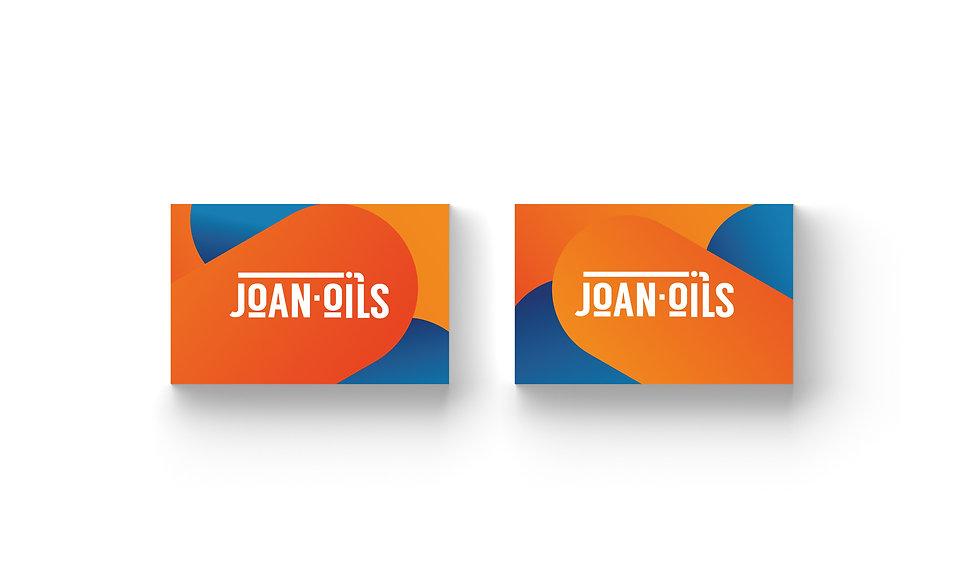 Disseny gràfic i disseny de targetes a Reus. Disseny realitzat per Icònic and co, per l'empresa Joan-Oils