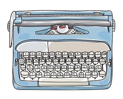 light-blue-typewriter-hand-drawn-vector-