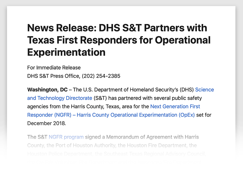 DHS S&T Press Release