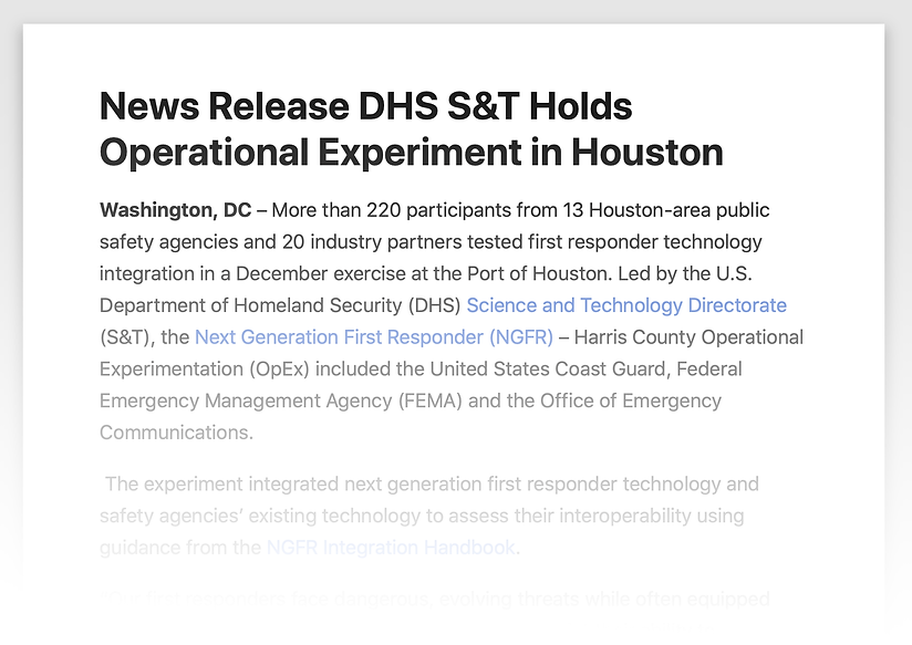 DHS S&T News Release