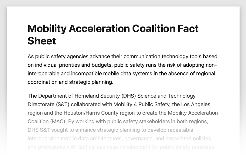 DHS S&T MAC Fact Sheet