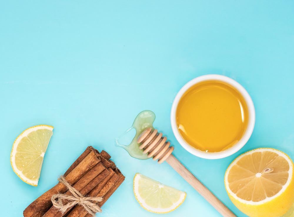honey, lemon, cinnamon, organic, natural