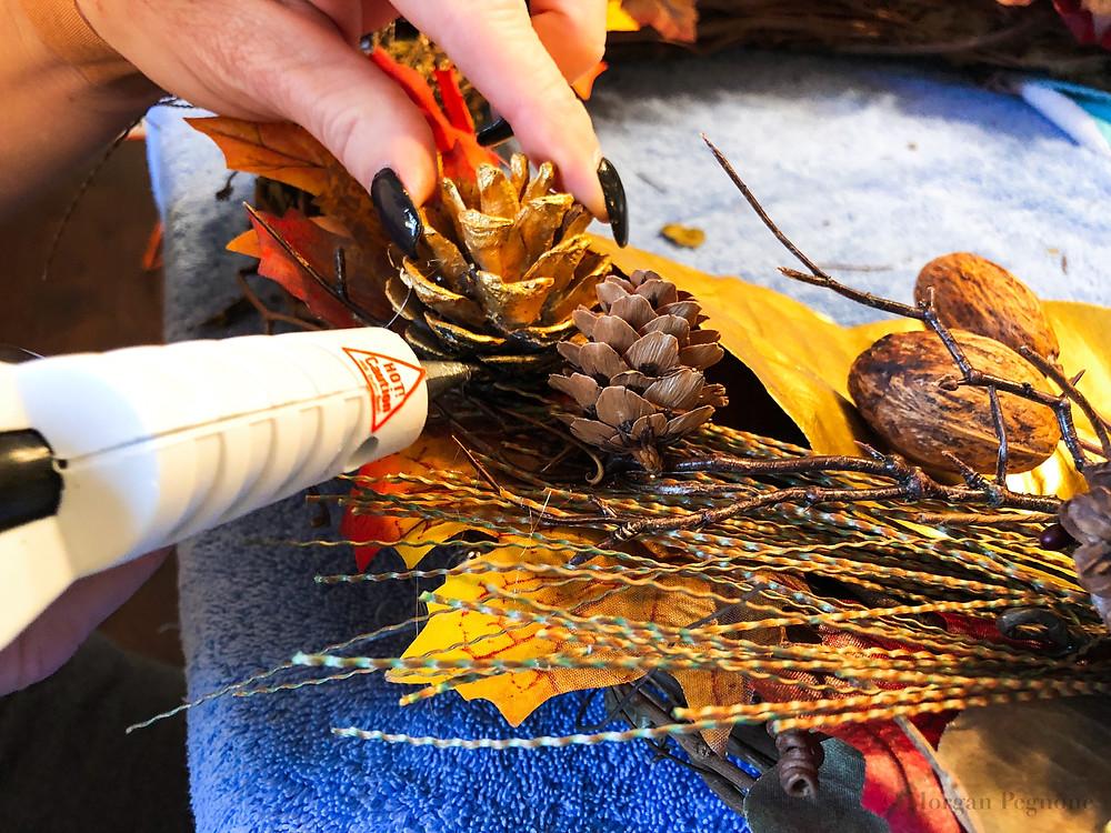 diy project, hot glue gun, fall wreath