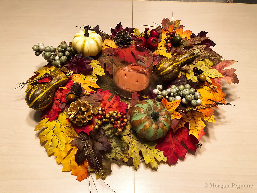 fall wreath, diy wreath, pumpkins, fall, candle, fall leaves, pine cones