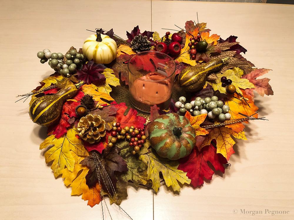 fall wreath, diy wreath, pumpkins, fall, candle, fall leaves, pine cones