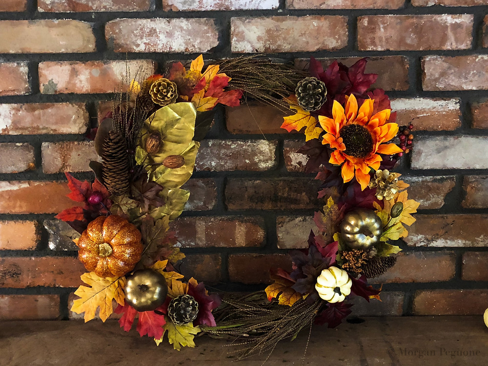 fall wreath, diy project, diy fall wreath, flowers, pinecones, pumpkins, leaves, autumn