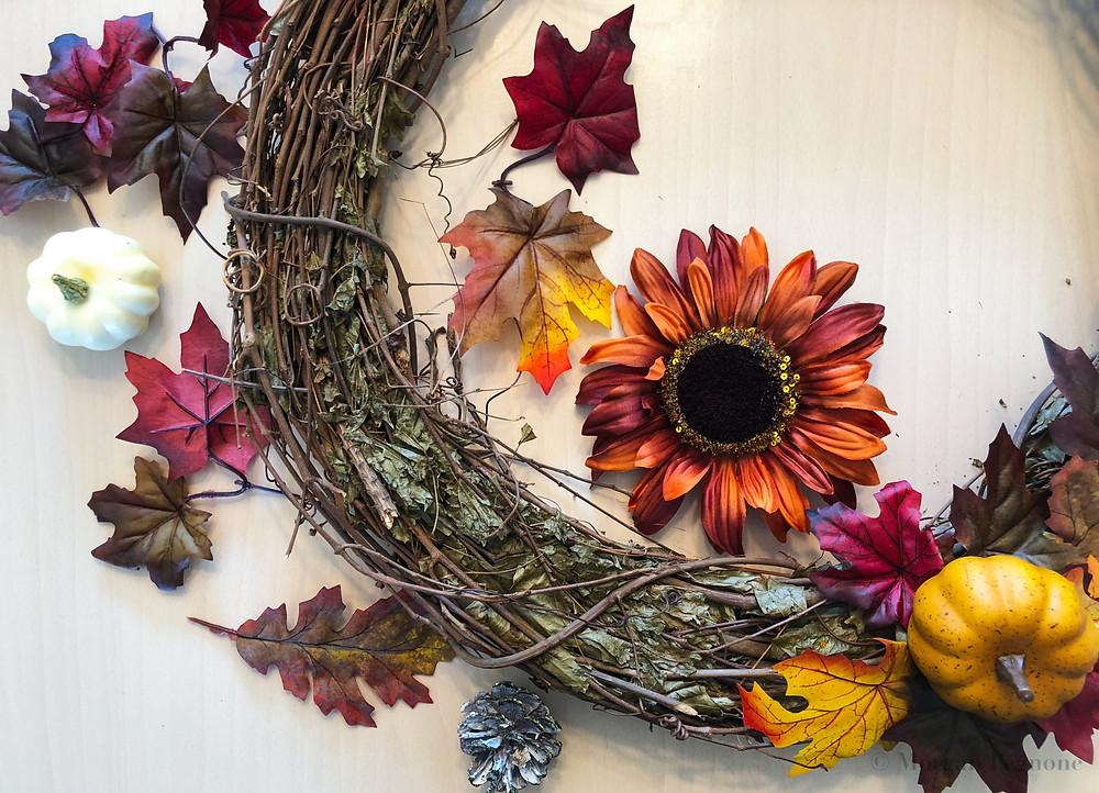 grapevine wreath, diy project, diy wreath, flowers, fall wreath, pumpkins, leaves, pinecones