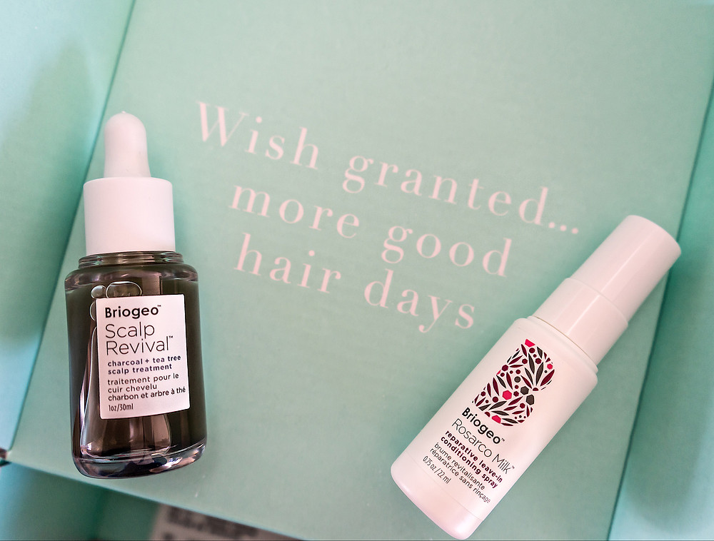 Briogeo Scalp Revival and Rosarco Milk in their blue/green packing stating Wish Granted...more good hair days